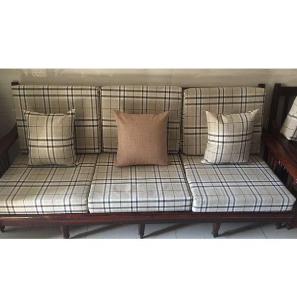 bộ đệm cho ghế gỗ sọc caro