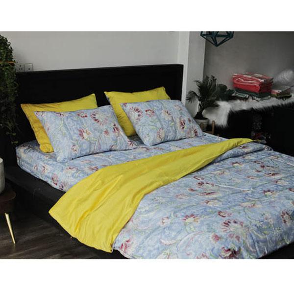 bộ chăn ga gối màu vàng xanh