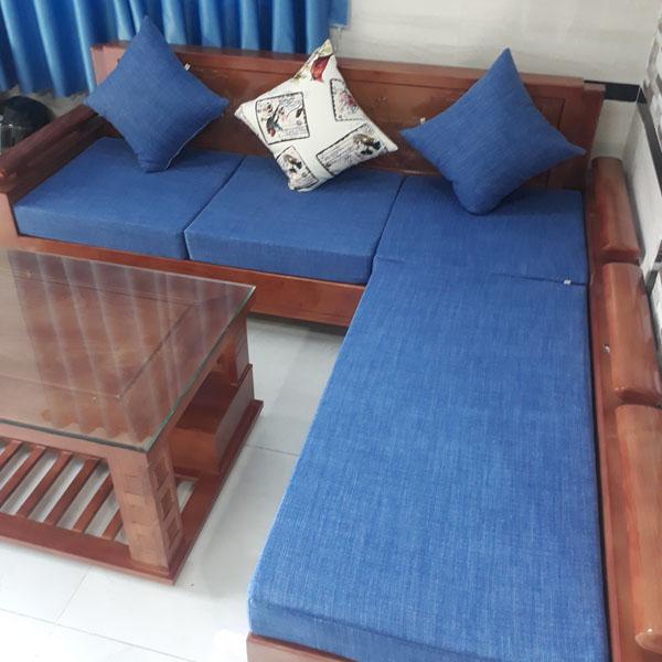 may bộ đệm cho ghế gỗ màu xanh dương