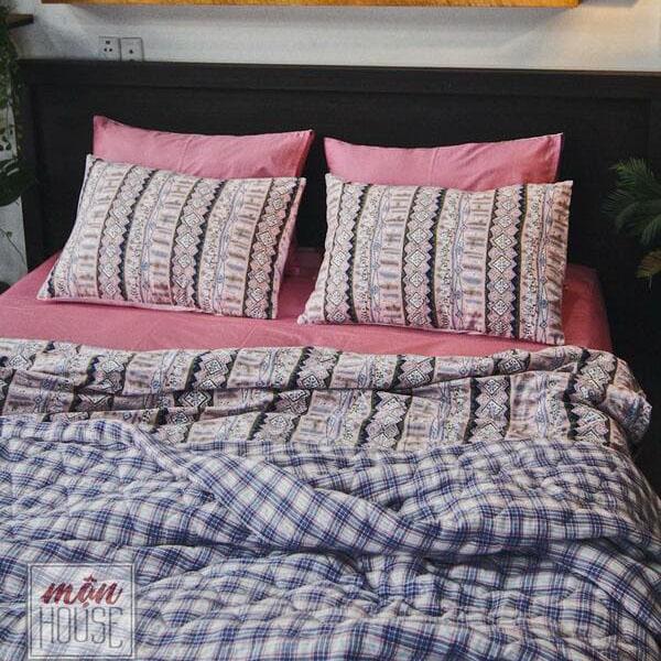 bộ chăn ga gối đệm đẹp hồng sọc