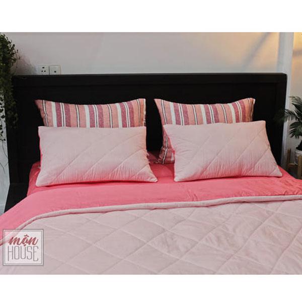 bộ chăn ga gối đệm màu hồng nhạt cao cấp