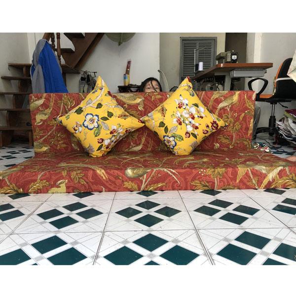 bộ đệm cho ghế gỗ hoa văn vàng đỏ