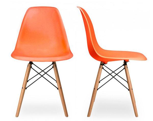 Ghế DSW chân gỗ màu cam