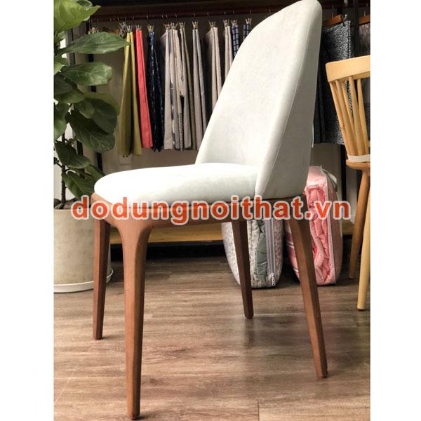 ghế gỗ bàn ăn đẹp mới màu trắng bọc simili