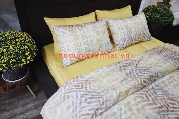 bộ chăn ga gối đệm sọc màu vàng nhạt