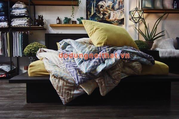 bộ chăn ga gối đệm sọc màu vàng nhạt tphcm