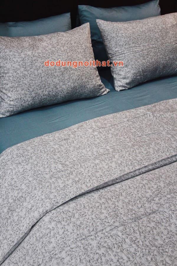 bộ chăn ga gối đệm hàn quốc màu xanh dương xám