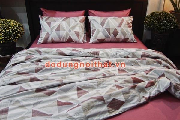bộ chăn ga gối đệm màu hồng đất caro