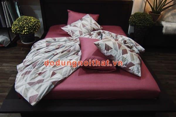 bộ chăn ga gối đệm màu hồng đất caro xám
