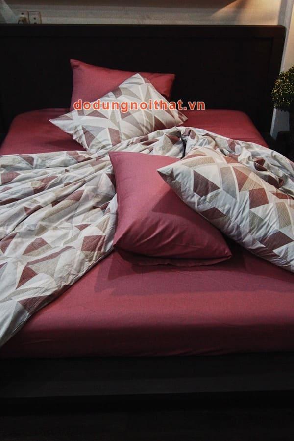 bộ chăn ga gối đệm màu hồng đất caro cao cấp
