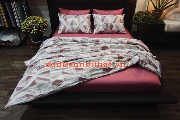 bộ chăn ga gối đệm màu hồng đất caro nâu