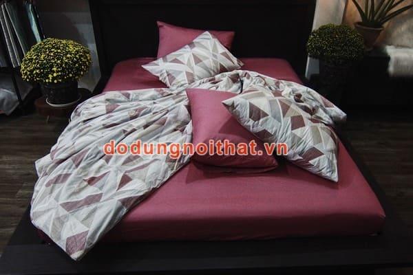 bộ chăn ga gối đệm màu hồng đất caro trắng