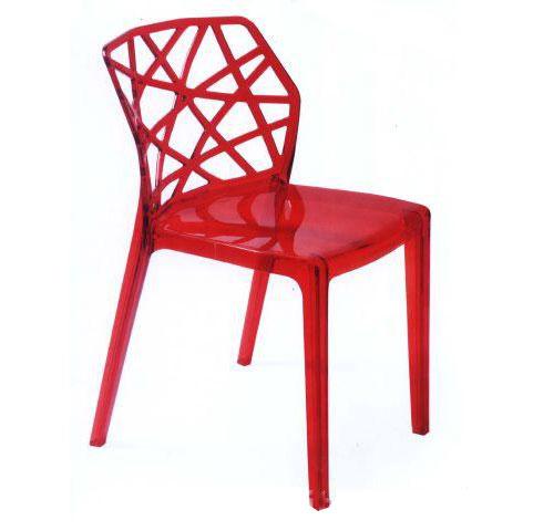 Ghế cafe tựa màu đỏ nhựa trong