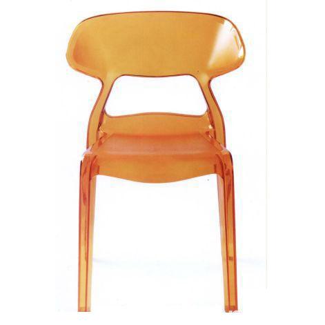 Ghế cafe tựa màu cam nhựa trong