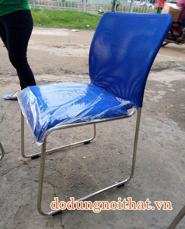 ghế văn phòng chân quỳ inox lưng lưới màu xanh dương