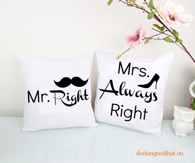 Gối tựa cặp Mr Right - Mrs Always Right