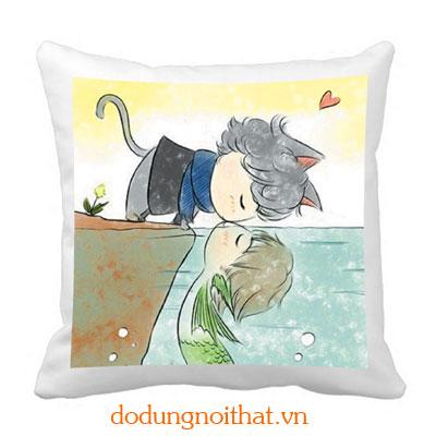 Gối tựa hoàng tử mèo và nàng tiên cá