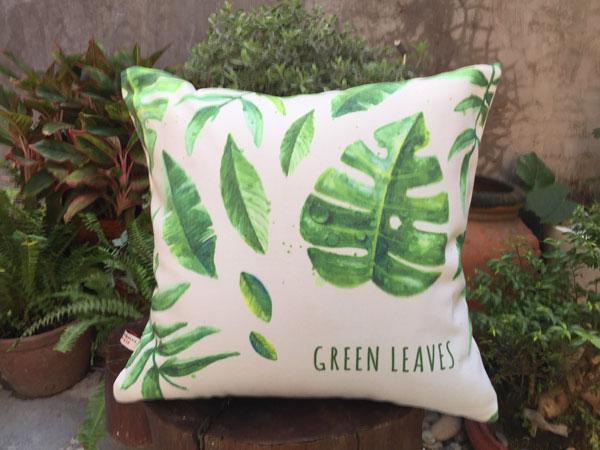 Gối sofa nền trắng màu xanh lá