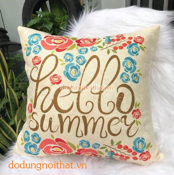 Gối tựa vải bố hello summer