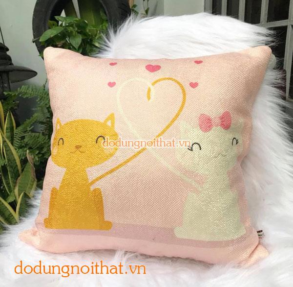 Gối tựa vải bố cặp mèo