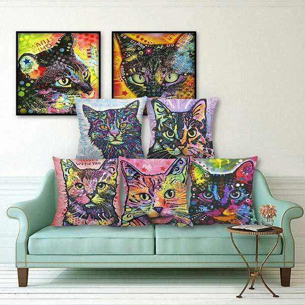 Bộ gối tựa sofa hình con mèo