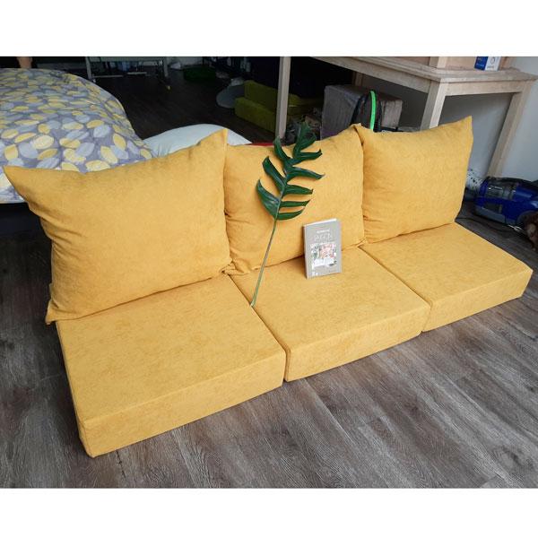 bộ nệm dày cho ghế gỗ màu vàng nhạt