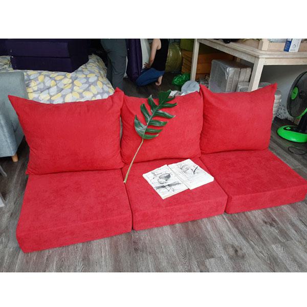 bộ nệm ghế màu đỏ phòng khách