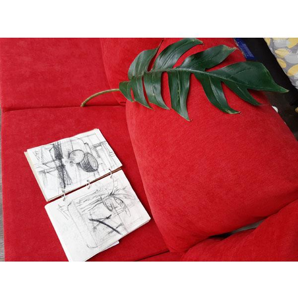 bộ nệm ghế màu đỏ đẹp