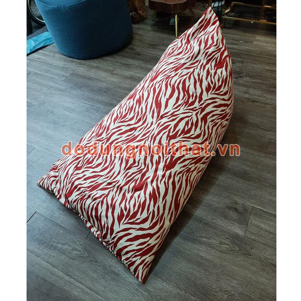 ghế lười hạt xốp hình chiếc thuyền màu đỏ sọc trắng