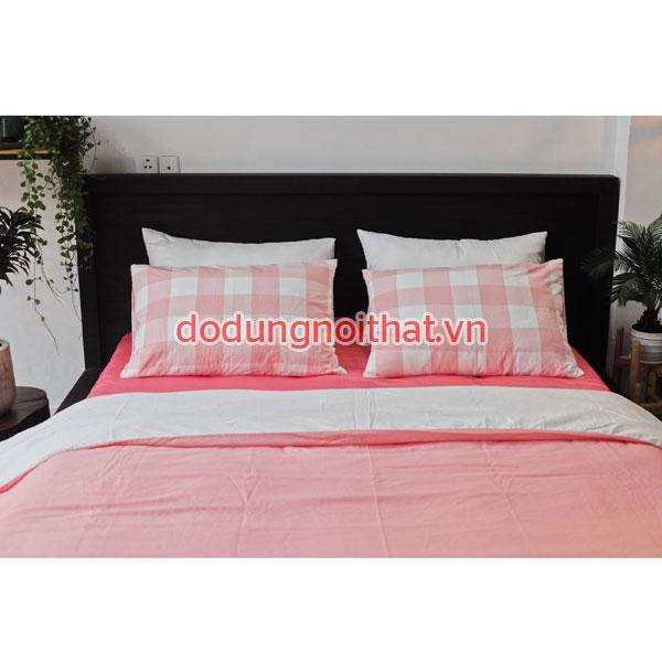 chăn ga gối nệm hàn quốc rẻ đẹp màu hồng sọc caro