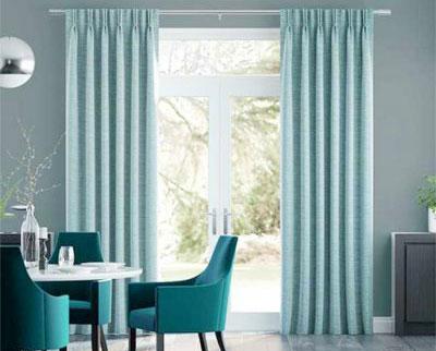 bộ màn cửa vải màu xanh sang trọng