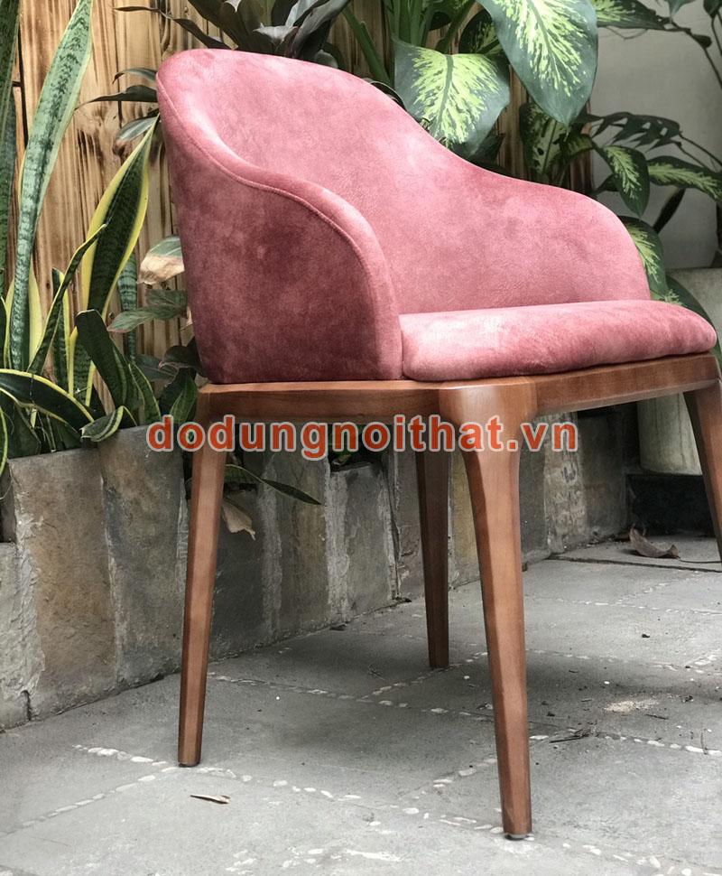 bàn ghế cafe đẹp màu hồng bọc vải nỉ nhung