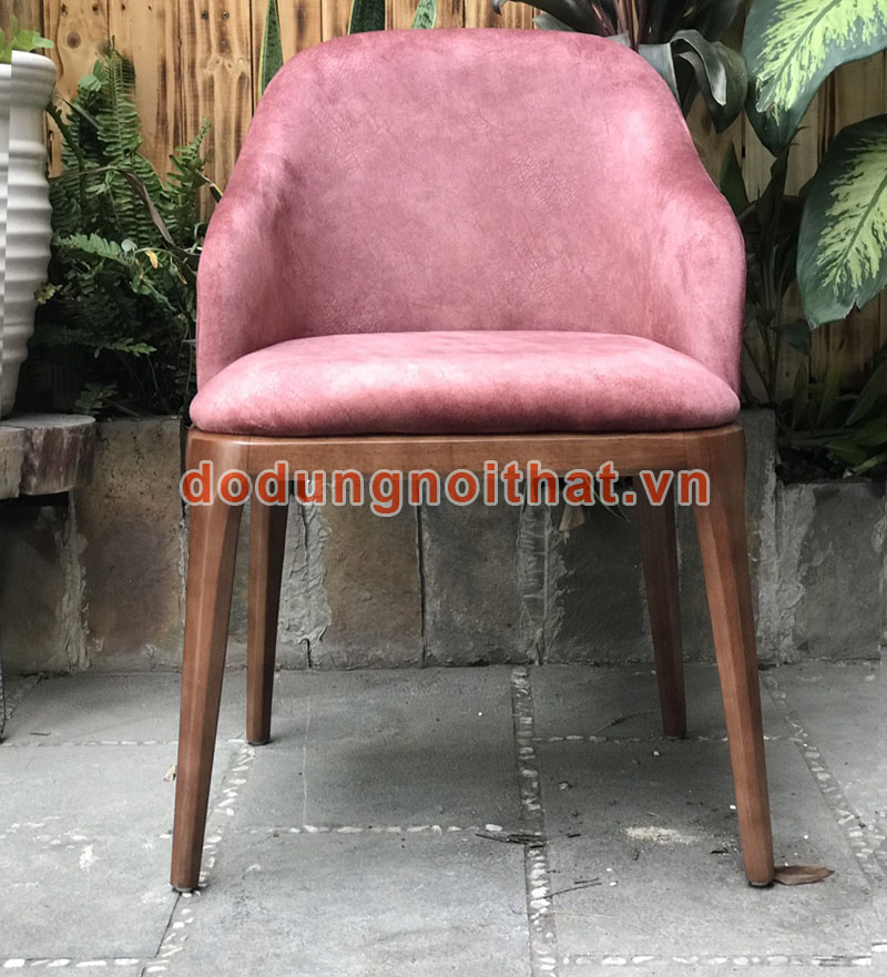 bàn ghế quán cafe đẹp màu hồng bọc vải nhung