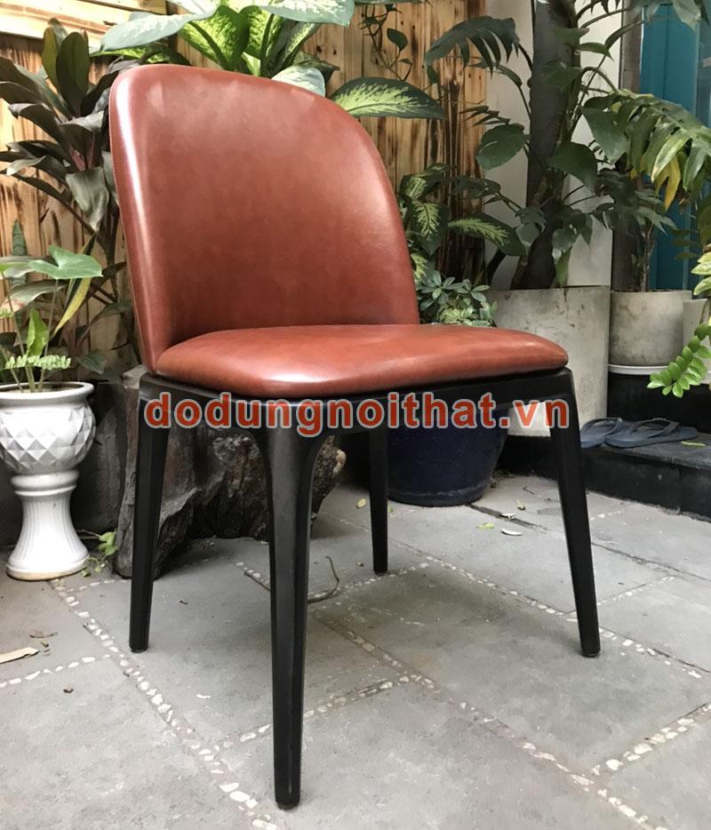bàn ghế cafe chân gỗ bọc simili màu da bò