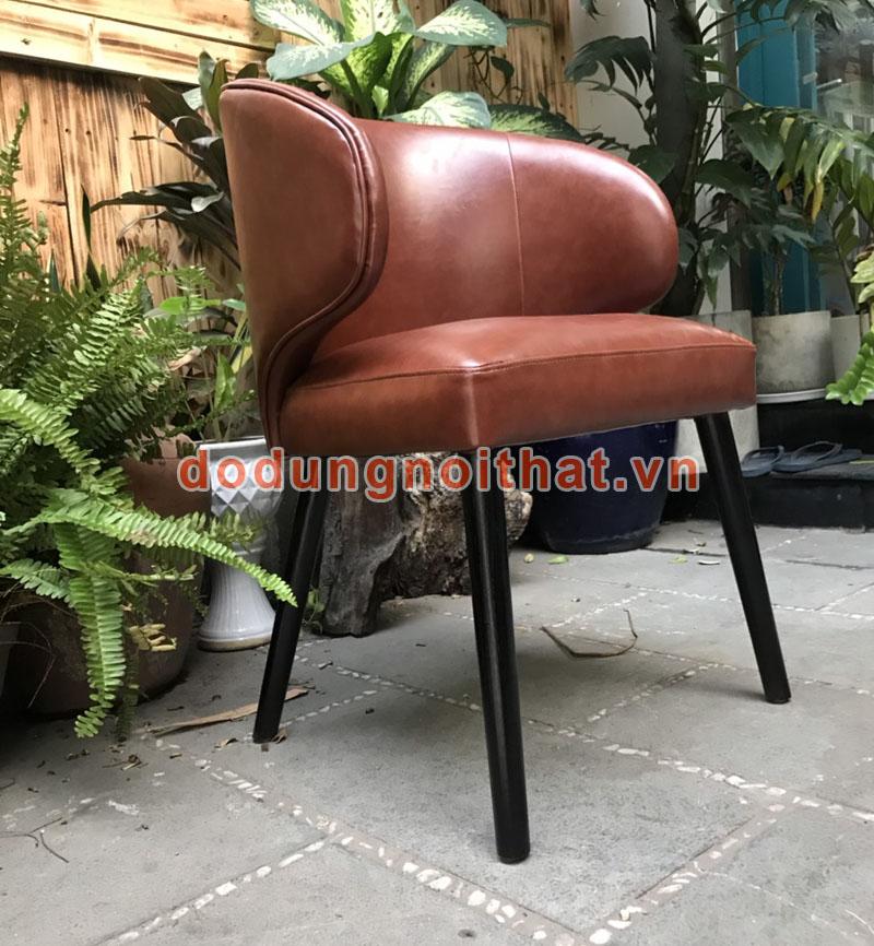 mẫu ghế ngồi cafe cao cấp bọc simili chân gỗ