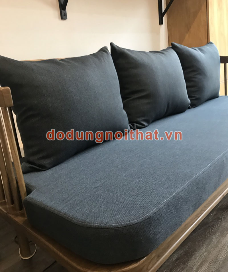 bộ ghế cafe sofa đẹp màu xanh thẩm bọc vải bố
